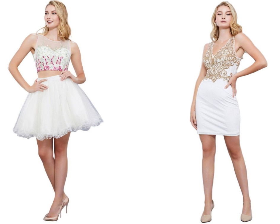 A Trendy Two-piece White Dress for Homecoming