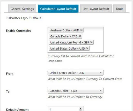 for default setting of currency list you have to
